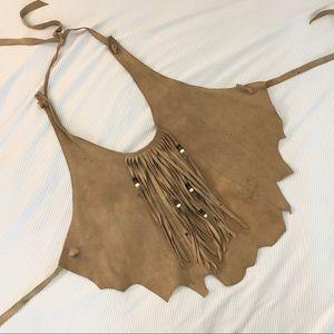 Vintage Leather Beaded Fringe Feather Halter Top